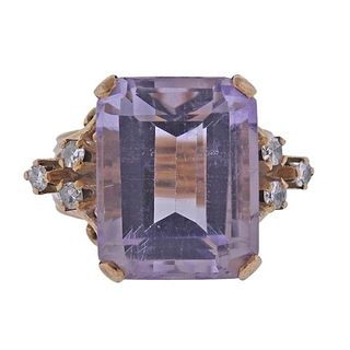 18K Gold Diamond 19ct Kunzite Ring