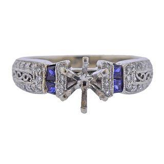 14K Gold Diamond Sapphire Engagement Ring Setting