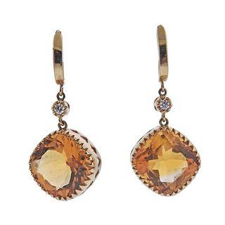 14K Gold Diamond Citrine Drop Earrings