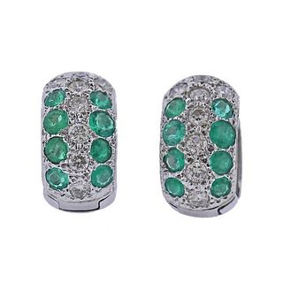 18K Gold Diamond Emerald Hoop Earrings
