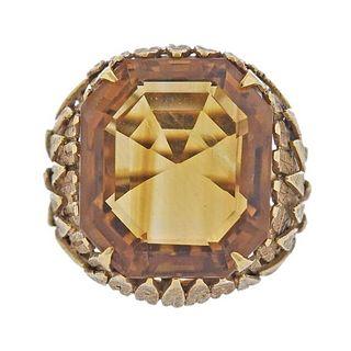 Vintage 18K Gold Citrine Ring