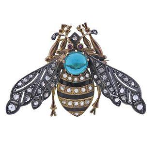 Antique 18K Gold Silver Diamond Enamel Insect Brooch Pendant