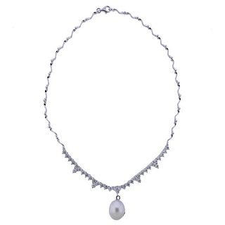 18K Gold Diamond Pearl Pendant Necklace