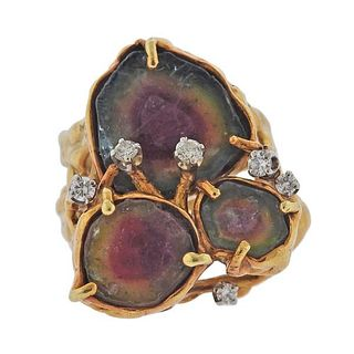 18K Gold Diamond Tourmaline Free Form Ring