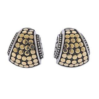 John Hardy Silver 18K Gold Dot Earrings
