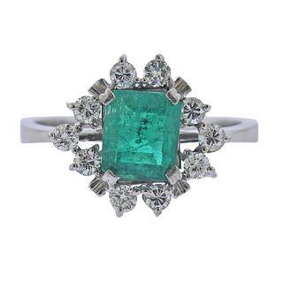 18K Gold Diamond Emerald Cluster Ring