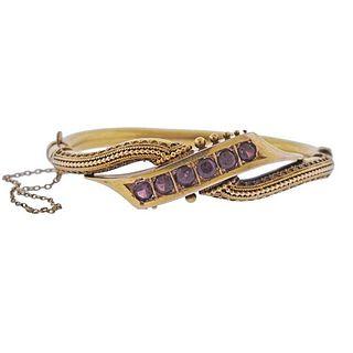 Antique 18K Gold Garnet Bangle Bracelet