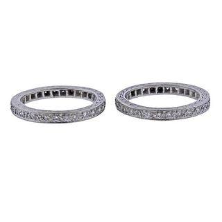 Platinum Diamond Eternity Wedding Band Ring Set