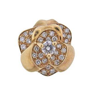 Chanel Camellia 18K Gold Diamond Slide Pendant