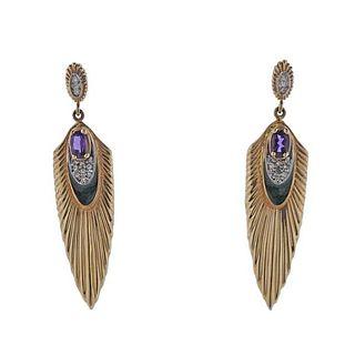 Erte 14K Gold Diamond Amethyst Enamel Earrings