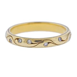 McTeigue 18K Gold Diamond Wedding Bend Ring