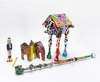 5 PCS AMERICAN FOLK ART PAINTED & CARVED OBJECTS