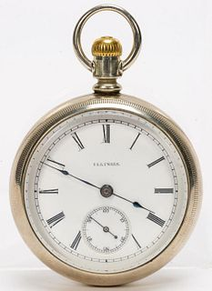 EARLY ILLINOIS OPEN FACE SILVER POCKET WATCH