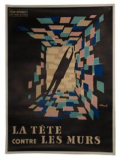Bernard Villemot (French, 1911-1989) 'La Tete Contre les Murs' Movie Poster