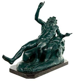 (After) Attilo de Luca 'Drunken Satyr from La Villa dei Papiri' Cast Metal Sculpture