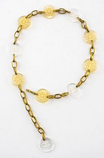 Chanel Gold-Tone and Lucite Medallion Belt