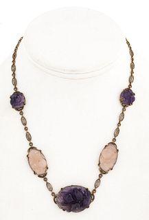 Chinese 14K Amethyst & Quartz Necklace