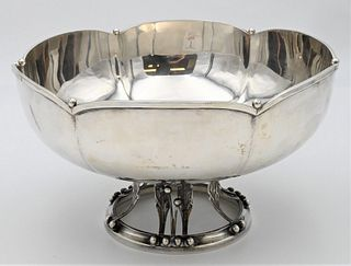 Whiting Sterling Silver Compote in Danish Silver Taste having leaf form base marked with a W in a wreath  height 5 1/2 inches, diameter 10 inches 31.3