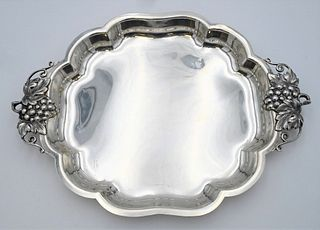 Durham Sterling Silver Serving Tray oblong with grape and leaf handles length 16 1/2 inches, width 12 1/2 inches 40.5 t.oz.