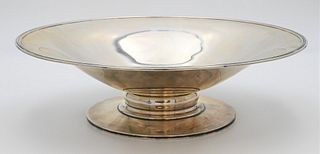 Large Durham Sterling Silver Center Dish shallow bowl on short stem foot marked Durham Sterling height 4 inches, diameter 13 1/4 inches 35.6 t.oz.