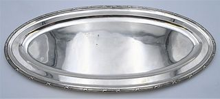 Large Oval Silver Tray bearing two touch marks 26 1/2 x 12 1/2 inches 62.4 t.oz.