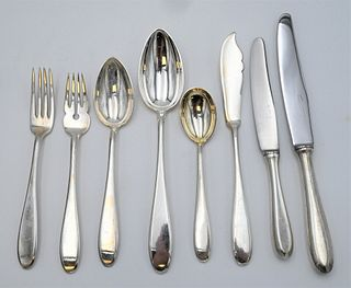 116 Piece French Silver Flatware Set to include 11 serving spoons, 10 tablespoons, 10 dinner forks, 11 luncheon forks, 10 salad forks, 10 teaspoons, 1