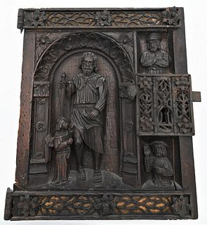 French Iron Mounted 3D Carved Walnut Door Panel depicting Saint Roch with an angel at his side, two busts to the right, pierced ironwork hinges and lo