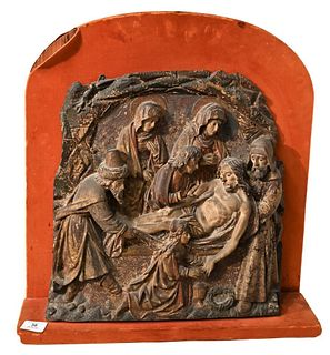 Flemish School Wood Panel parcel gilt polychrome carved depicting our Saviour being lowered gently onto the burial couch Mary Magdalene anointing him