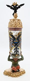 German Enameled Glass Reichshumphen dated 1652 cylindrical vessel with enameled double headed eagle and various heraldic emblems having carved wood do