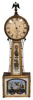 D. N. Dole Hallowell Maine Weight Driven Banjo Clock having ship battle scene in bottom panel marked Wasp and Reindeer height 32 1/2 inches Provenance