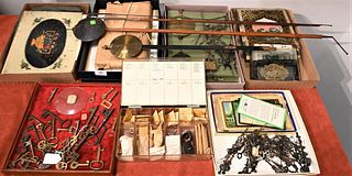 Large Group of Miscellaneous Clock Parts tall case clock parts to include pendulums, clock faces, hand's, panels, gears, springs, antique glass, skele