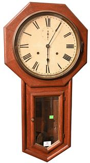 Seth Thomas Schoolhouse Regulator Wall Clock, having oak case with thirty day movement painted metal dial and second hand dial, original paper label o