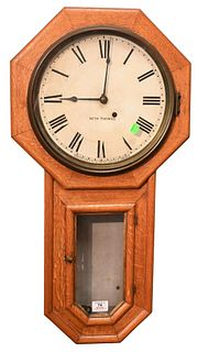 Seth Thomas Schoolhouse Regulator Wall Clock having oak case 30 day movement, painted metal dial marked Seth Thomas  length 31 inches Provenance: Fift