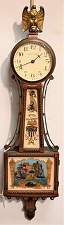 Waltham Miniature Banjo Clock having mahogany case, painted dial and brass rope front trim, reverse painted tablets of ship battle length 21 1/2 inche