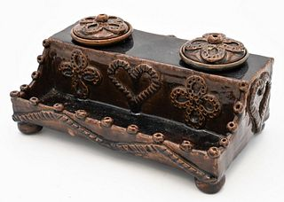 Earthenware Double Inkwell having molded heart and flower decoration height 3 1/2 inches, length 8 inches