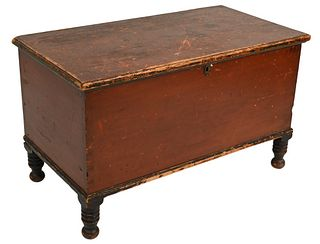 """Primitive Lift Top Blanket Chest in old red finish on turned black legs signed on back """"Sam Snyder..... """"(Snyder County, PA?) circa 1820 height 22 1/2"""