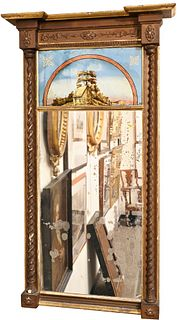 Federal Mirror having eglomised panel over rectangular mirror housed in gilt frame  overall 49 1/4 x 27 inches