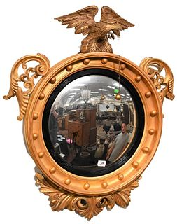 Gilt Convex Mirror having eagle top height 38 inches, diameter 25 1/4 inches