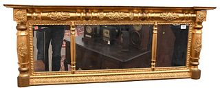 Federal Gilt Three Part Over Mantle Mirror circa 1830 height 21 inches, width 55 inches