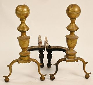 Pair of Federal Brass Andirons having cannonball tops on spurred legs and ball feet probably Boston circa 1830 missing log stops height 21 1/2 inches