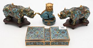 Four Piece Assorted Chinese Cloisonne Group  to include pair of rhino censors on stands  small circular box with foo lion finial along with a double b