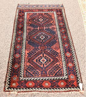"""Belouch Oriental Throw Rug 3' x 5' 4"""" Provenance: Fifty Year Personal Collection of Clocks and American Antiques from Thomas Bailey, Manchester, Conne"""