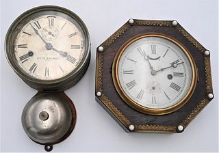 Two Wall Clocks to include Seth Thomas day lever ships bell wall clock having metal case and dial marked pat Nov 1879 Seth Thomas paper label on back