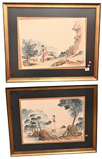 Group of 15 Chinese and Japanese Paintings to include group of 12 watercolor on tissue paper of figures pair of watercolor on paper of Guanyin landsca