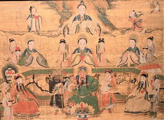 Japanese Watercolor on Silk having painted warrior figure amongst scholars and geisha 18th century or later sight size 22 x 29 1/2 inches