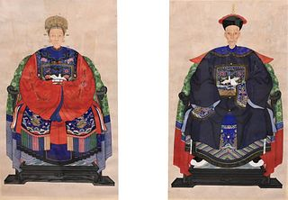 Two Large Chinese Ancestral Portraits both watercolor on paper one figure in red, the other in blue, both having four claw dragon details on their rob