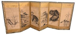 Six Fold Japanese Dressing Screen depicting village and three claw dragon height 54 inches, length 132 inches
