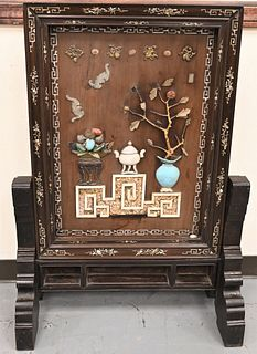 Large Chinese Hardwood Screen having mother of pearl inlaid frame of bats, antiques and scroll leaves with fruit, central screen mounted stone, bats,