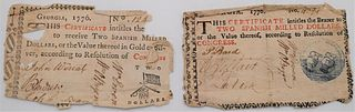 """Two Georgia Colonial Paper Currency Notes or Banknotes1776marked """"This certificate intitles the bearer to two Spanish milled dollars or the value th"""
