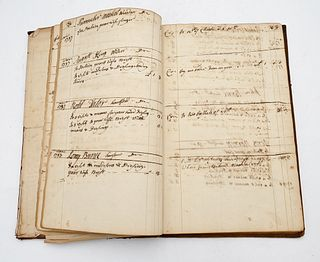 Account Ledger 18th - 19th century local Wethersfield, Hartford, Farmington, Wells, Roberts, Deming, Boardman, Bissell, entry names Provenance: Fifty